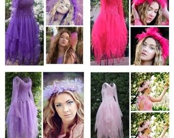 Adult  Fairy Dress  ~ Plus Size  Ren Faire Costume ~Mardi Gras~Theatre~Fantasy~ Tulle Headpiece ~Masquerade ~ Renaissance ~ Wedding