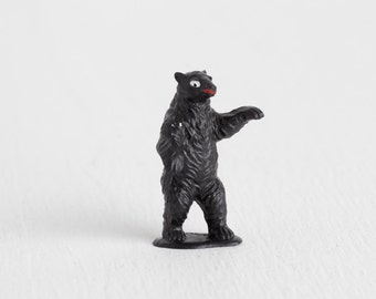 Vintage Black Bear Miniature, Tiny Standing Bear Toy with Red Mouth for Terrarium, Dish Garden, or Shadowbox