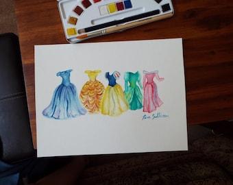 Disney Princess Dresses Watercolor Painting
