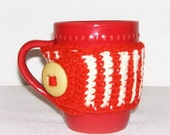 Mug Cozy Cup Crochet Red Rust Cream Cup Cozy #10 Teacher Mother Friend Christmas Gift