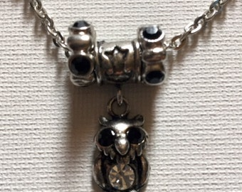 Silver Toned Beaded Owl Necklace