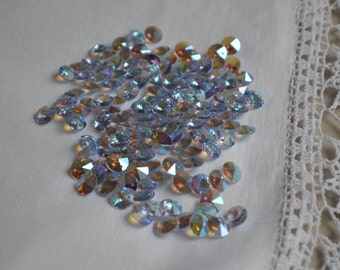 Vintage Swarovski round faceted single hole crystal beads 8mm 12 pieces