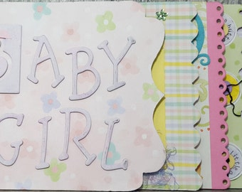 Baby Girl Mini Scrapbook Album with 10 Hand Crafted Pages in Feminine Colors