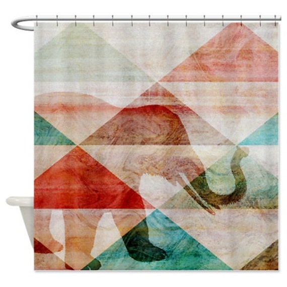 Abstract Elephant Shower Curtain Teal Brown By HLBhomedesigns