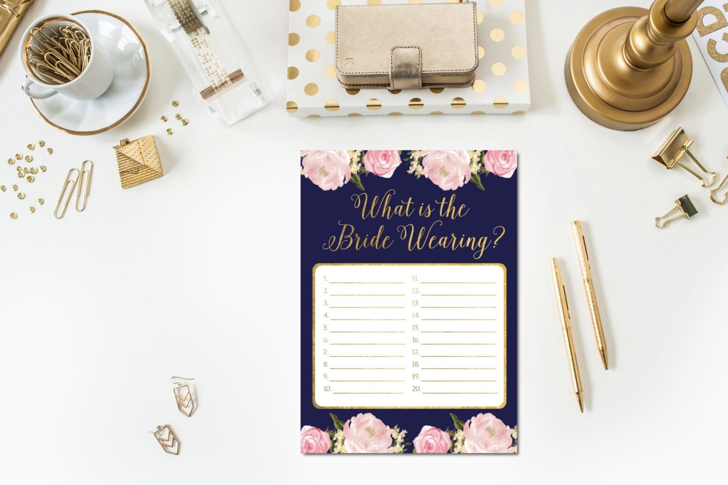 Navy Blush Gold Bridal Shower Game Card What Is The Bride
