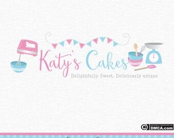 Premade Bakery Logo, Cake Logo, Cakery Logo, Cupcake Logo, Baking Supplies Logo, Mixer Logo, Whisk Logo, Baking Logo, Bunting Logo, Spatular