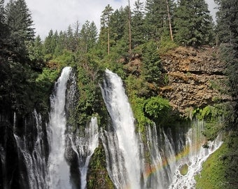 Rainbow Waterfalls Photo, Green Forest, Blue Water, McArthur Burney Falls, Rainbow Photo, California State Park, Woodland Waterfall Nature
