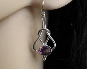 Gemstone Earrings, Purple Amethyst Silver Earrings, Amethyst Gemstone Jewelry, February Birthstone, Mother's Day Gift