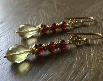 Tsarina: Garnet & Lemon Quartz Gemstone Earrings, OOAK, Dangle Earrings
