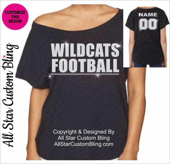 Custom football team mascot off shoulder dolman shirt for Personalized football t shirts
