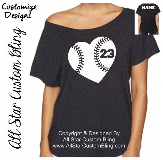 Custom baseball heart dolman off shoulder shirt custom for Custom baseball tee shirts