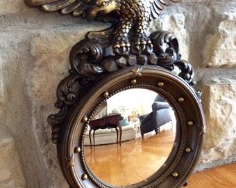 "Vintage 16"", Dart Eagle Convex Mirror, Bulls Eye, Syroco, Man Cave, Mid Century,  Office Decor"