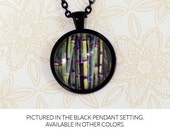 Bamboo Necklace - botanical jewelry, 1 inch pendant on chain, quirky, whimsical, photo art necklace, metal color options available