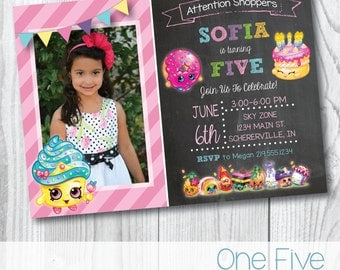 Shopkins Birthday Invitation with Photo - Printable (5x7)