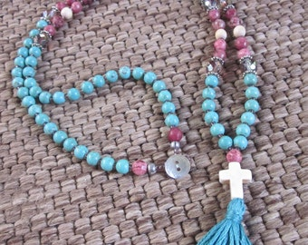 long beaded bohemian necklace tassel necklace pink lepidolite czech glass turquoise white stone cross boho bohemian long beaded necklace