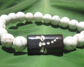 dragonfly carved bone bead white howlite beads stretch stacking bracelet bohemian bracelet mens bracelet women's bracelet boho jewelry