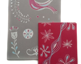 2 x sketch book / notebook with hand-painted cover, A5 + A6