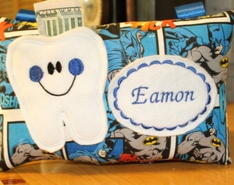 Tooth Fairy Pillow-Boys tooth fairy pillow-Tooth Fairy  -Boys Tooth Pillow - Personalized Tooth Fairy Pillow -Tooth Fairy Certificate