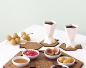 serving  set,  Wooden tray, 6 pomegranate shape coasters, 6 ceramic dishes modern Judaica design Jewish holiday gift