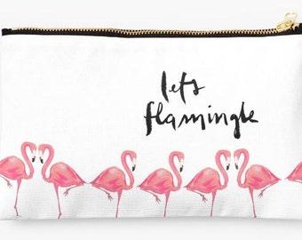 Zipper Pouch Accessory: Let's Flamingle {Flamingo Cute Pencil Pouch, Makeup Pouch, Cosmetic Case}