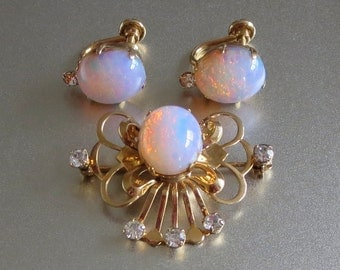 Van Dell Pendant Pin & Earring Set, Vintage Faux Opal, 1/20 12kt Yellow Gold Filled, Beautiful!