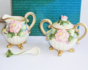 Sugar and Creamer Set, Fitz and Floyd, Les Fleurs, Creamer and Sugar, Sugar Bowl, FF, 3 Piece Set