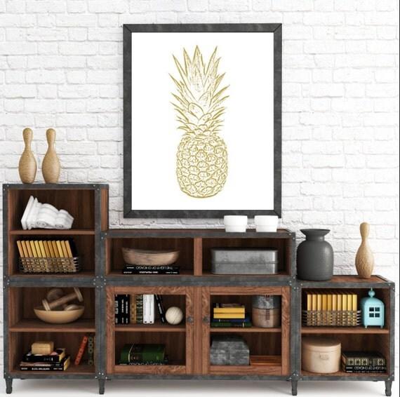 Pineapple Wall Print, Yellow Wall Prints, Yellow Pineapple, Gold Pineapple, Pineapple Art, Printable Wall Art, Yellow Home Decor, Printable