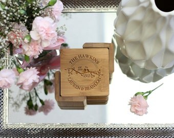 Personalized LoveBirds Coaster Set, Square Wood Coaster Set, Engraved Coasters, Rustic Heart Initial Coaster Set - Set of 6 --22023-CST2-001