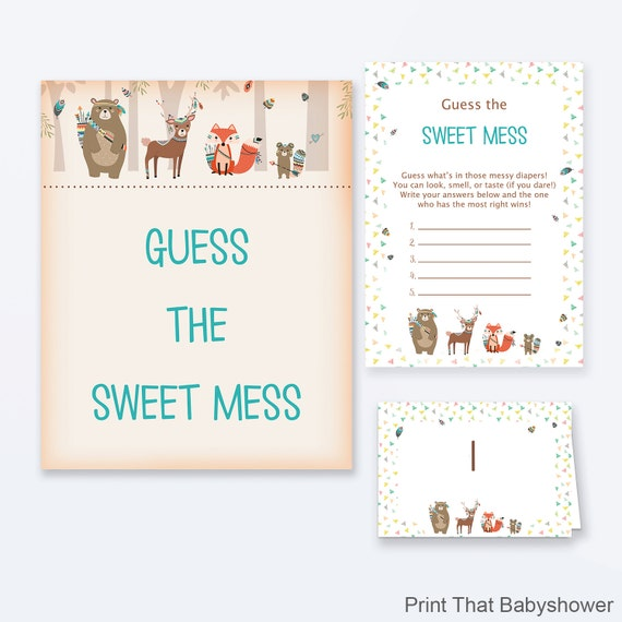 Baby Shower Games Guess The Sweet Mess Game Woodland Baby Shower