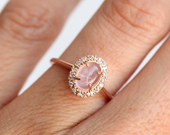 Pink engagement ring Etsy