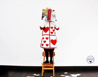 White Rabbit Costume | Alice in Wonderland | Playing Card Outfit - with neck ruff and bunny ears
