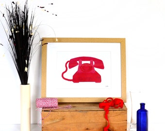 Red Retro Telephone Print