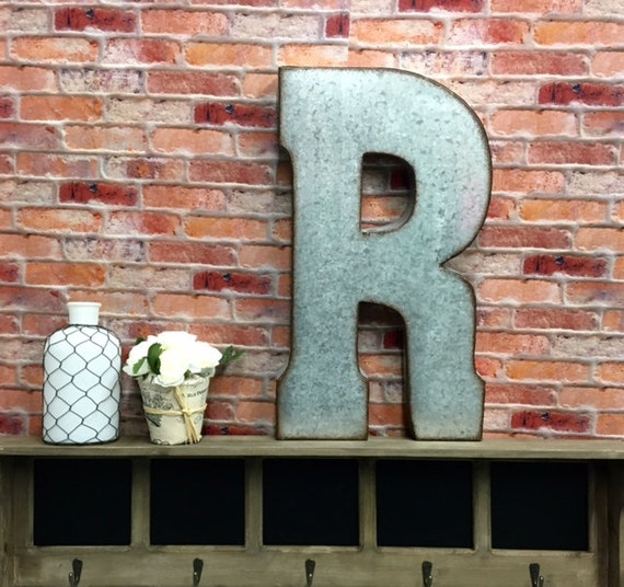 Large Metal Letter R Metal Lettersletter Rlarge Metal Letter Rgalvanized