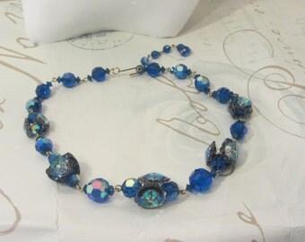 Vintage blue aurora Borealis choker glass iridescent beads, Glass flower beads choker, blue glass earrings, glamor, wedding,screw earrings