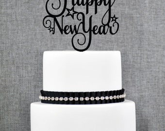 Happy New Year Cake Topper, New Year Cake Topper, New Years Eve Cake Topper- (T266)
