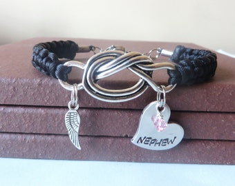 Nephew Memorial Angel Wing Crystal Birthstone Hand Stamped Love Knot Bracelet You Choose Your Birthstone Charm and Cord Color(s)