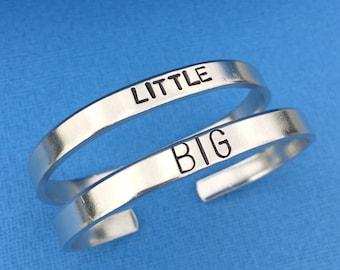 Big Little Sorority - Set of 2 - Friendship Bracelet - Cuff Bracelet - Hand Stamped Gift - Sister Gift - Personalized - Aluminum Bangle