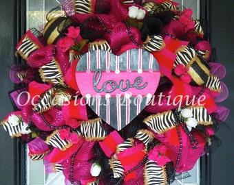 XL Valentine's Wreath, Valentine's Day Decoration, Heart Wreath, Front door wreaths, Wreath for door, Whimsical Wreaths