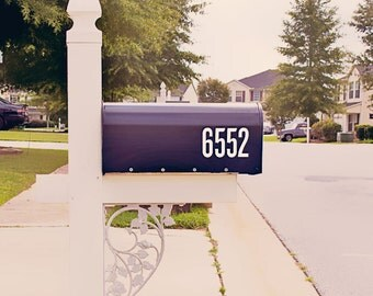 Bold Mailbox Number Decal, Custom Mailbox Sticker - 005