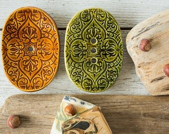 Soap dish drain - Ceramic soap dish - Drain soap dish - Pottery soap dish - Draining dish - Ring dish - Sponge dish - Portasapone - Murdeko