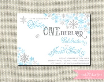 Snowflake Birthday Invitation, Winter Birthday, Snowflake Invitation, blue and Silver, Glitter, First Birthday Invitation, Snowflake Party