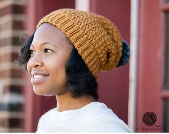 Mega Pom Beanie // Crochet PDF Pattern Textured Crochet Hat Pattern, Mens Hat, Womens Hat, Crochet Beanie, Crochet Pattern, Pom Pom Hat