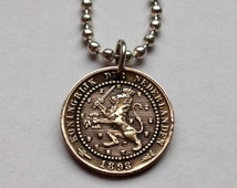 1892 Netherlands 1 cent coin pendant necklace rampant Heraldic Cecil the LION sword crowned crown LEO zodiac Dutch Holland No.000445
