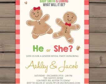 Gender reveal invitation Gingerbread Winter Gender reveal party invitation Holiday gender reveal He or She Invite Boy or girl PRINTABLE