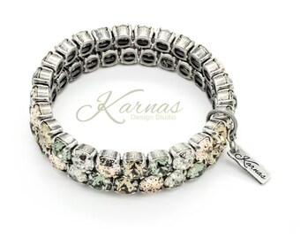 GREIGE & NEUTRALS 8mm Crystal Chaton SINGLE Stretch Bracelet Swarovski Elements *Pick Your Finish *Karnas Design Studio *Free Shipping