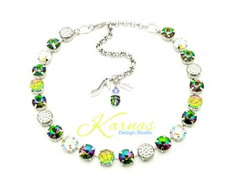 GIRL'S NIGHT Out 10mm Crystal Mixed Media Necklace Made With Swarovski Elements *Pick Your Finish *Karnas Design Studio *Free Shipping*