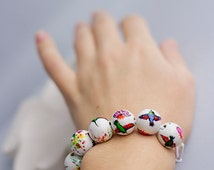 Hand painted colorful beaded bracelet, humming bird bracelet, gift for girl, summer accessories: Fantastic colibri