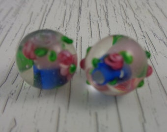 2 Lampwork Beads Half Pink Half Blue Pink Flowers Green Accents Clear Glass 14mm Round Beads Beautiful Flower Beads Pink Blue Green Glass