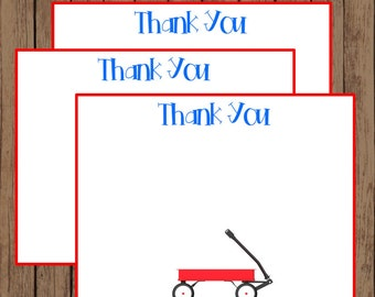 Little Red Wagon Printable Digital File Instant Download Thank You Stationary