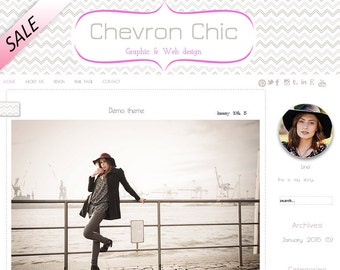 Premade wordpress template, chevron blog design, gray wordpress template, Chevron Chic